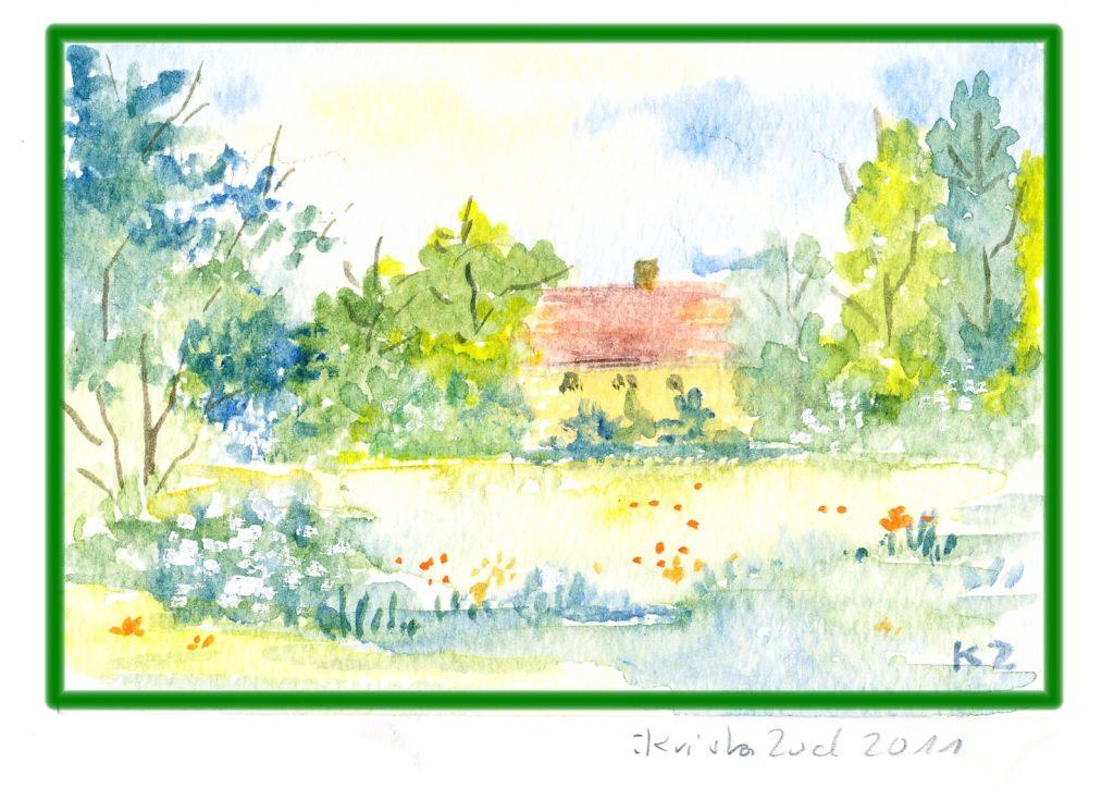 Sommer Landschaft Aquarell handgemalt Original