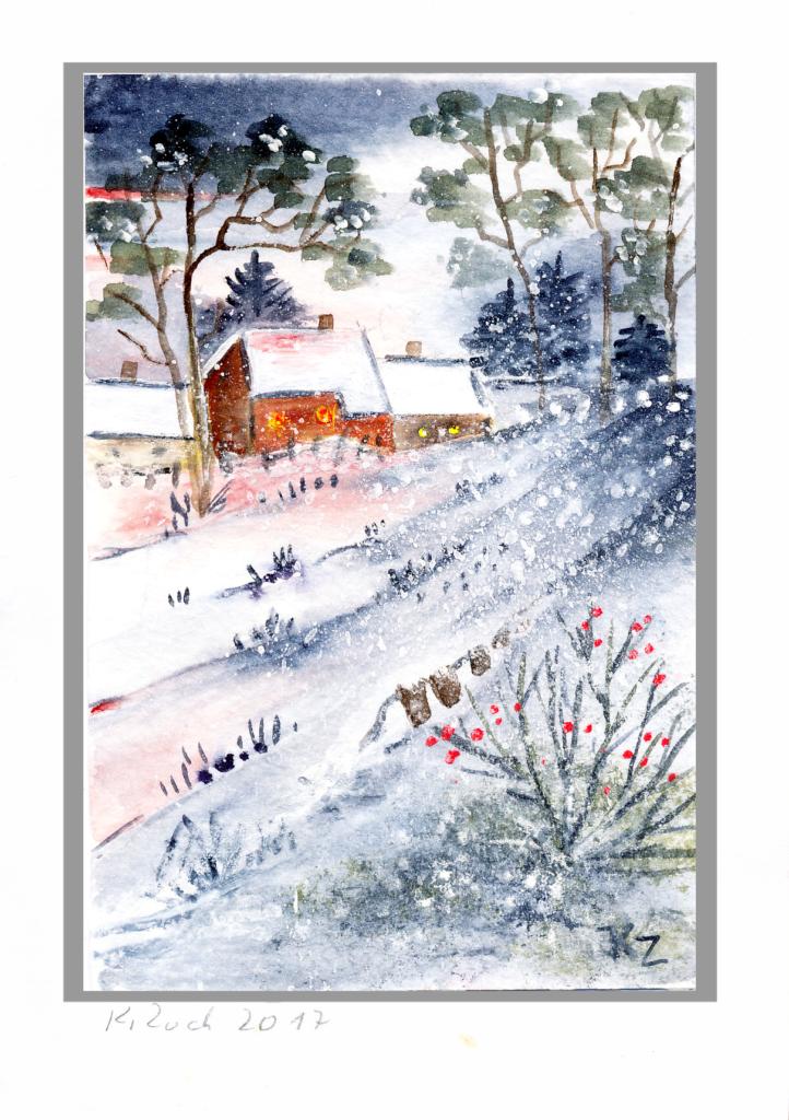 Winter Landschaft Aquarell handgemalt Original